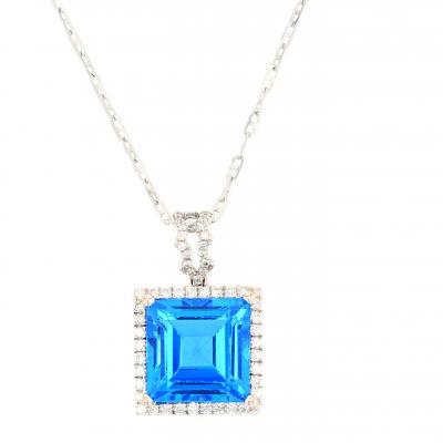 Classic Blue Topaz & Diamond pendant