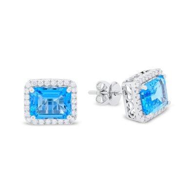 Rectangular Shaped Blue Topaz & Diamond Earrings