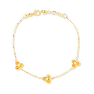 3 Flower Diamond Chain Bracelet