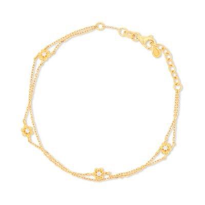 Double Chain Daisy Diamond Bracelet