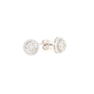 Cluster Round Shaped Diamond Earrings