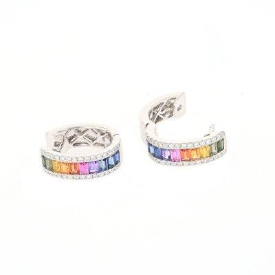Hoop Sapphire Diamond Earrings