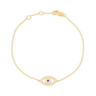 Evil Eye Diamond Chain Bracelet with Sapphire