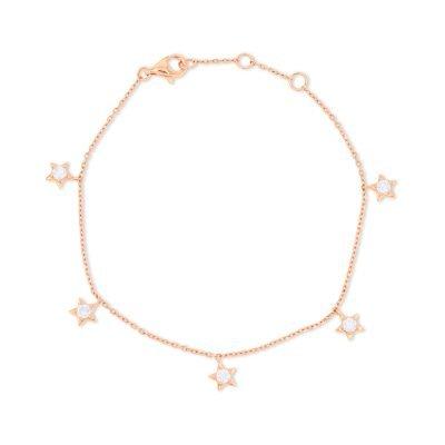 5 solitaire Star Charm Bracelet