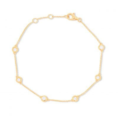 6 Round solitaire Chain Bracelet