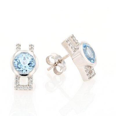 Blue Topaz & Diamond Earrings