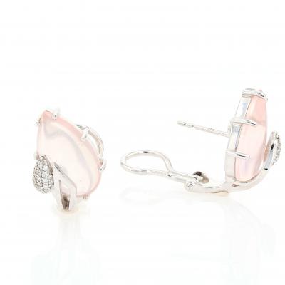 Rose Quartz & Diamond Earrings