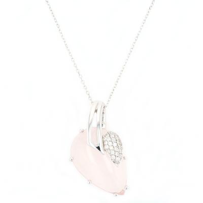 Rose Quartz & Diamond pendant