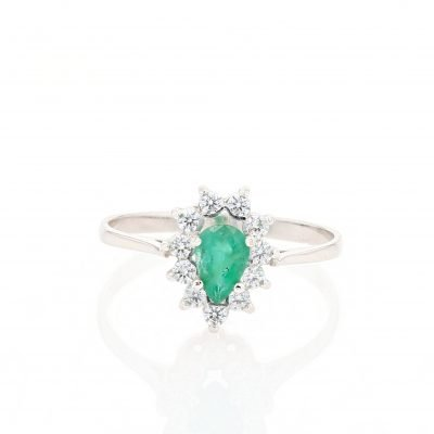 Sparkling Pear Shaped Emerald Ring