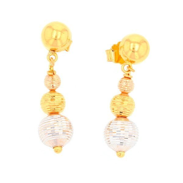 3 Colour Drop Ball Earrings