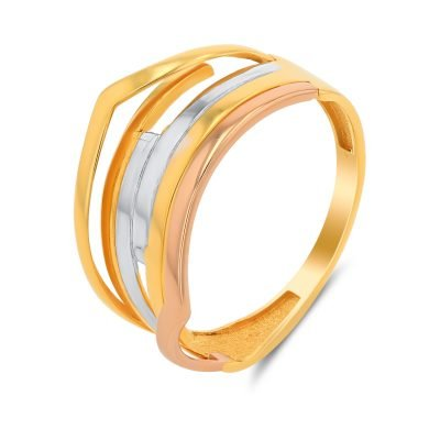 MESMERIZING CRISS CROSS TRI COLOUR RING
