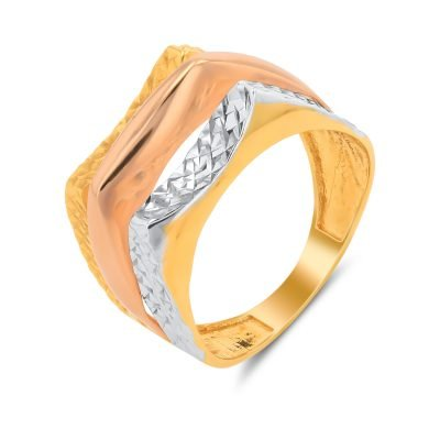 SPARKLY DIA CUT TRI COLOUR RING