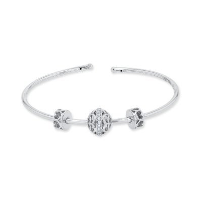 SPINNING CZ BALL OPEN BRACELET