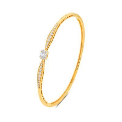 ROUND BAGUETTE CLUSTER YELLOW BANGLE