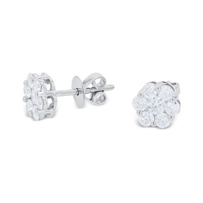 WHITE CLUSTER STUD EARRINGS