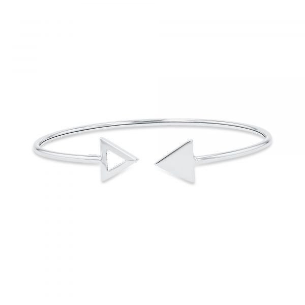 Classic Double Triangle Bangle - White Gold