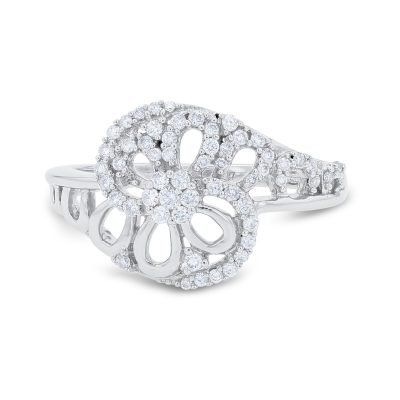 FLORAL OVERLAP DIAMOND RING