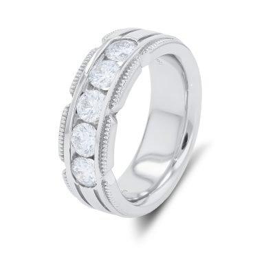 MAN'S MILGRAIN DIAMOND RING