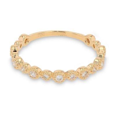 SLEEK DIAMOND BEADED GOLD RING