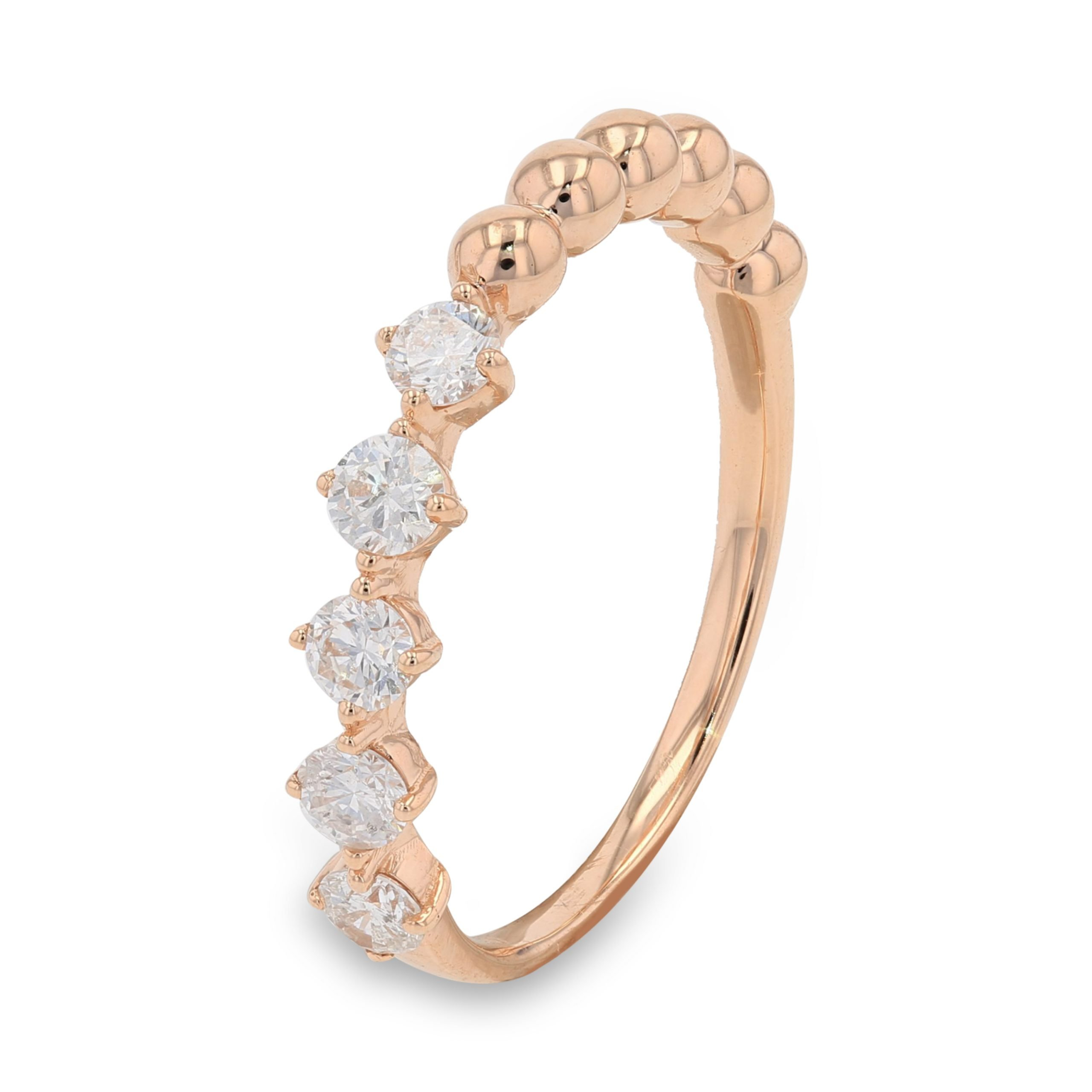 CONTEMPORARY DIAMOND STUDDED ROSE GOLD RING
